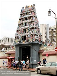 The gopuram that rises above the main entrance along South Bridge Road of the Sri Mariamman Temple - Singapore