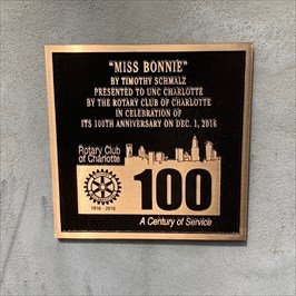 Miss Bonnie, Rotary Plaque, Charlotte, North Carolina