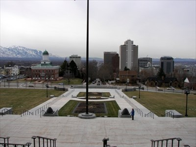 Photograph taken from the south steps of the state capitol building.
