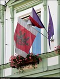Image for Rožnov pod Radhoštem - municipal flag on Municipal office / Mestský urad - Rožnov pod Radhoštem (North-East Moravia)
