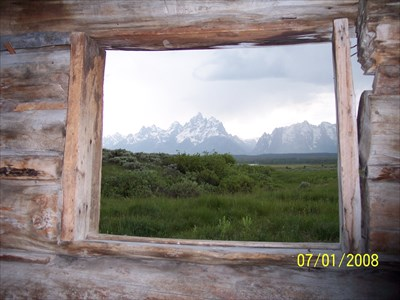 View of the Tetons from a Cunningham Cabin window, by MountainWoods