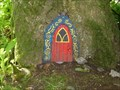 Image for Red Fairy Door with Black & Yellow Frame - Portpatrick, Scotland, UK