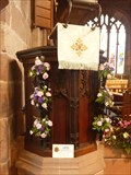 Image for OLDEST - wooden pulpit in Cheshire - St Michael's Church, Marbury, Cheshire East.