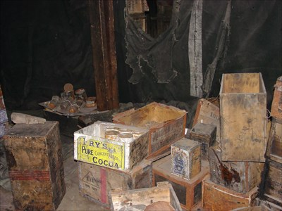 Crates of supplies inside the hut.