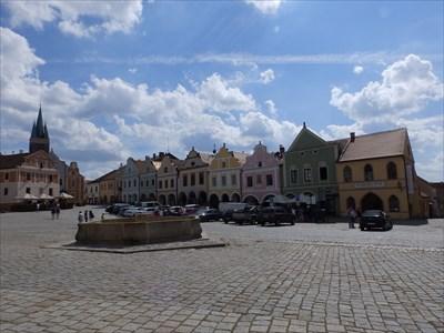 Kašna se sochou sv. Markéty, Telc, Czech republic