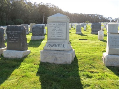 William R Parnell, MOH, Setting of Frontside, San Francisco National Cemetery