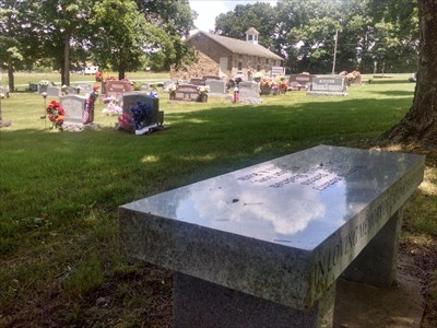 Calvin and Ancil Stockton dedicated bench, by MountainWoods