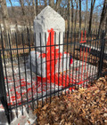 Image for Confederate monument in Harrisonburg vandalized with red paint ~ Harrisonburg, Virginia.