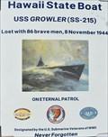 Image for USS. Growler - Lost at Sea - Pearl Harbour, Honolulu, Hawaii.