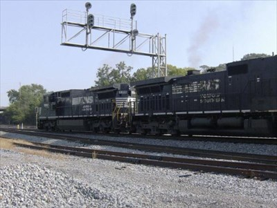 NS 8388 heads northbound with a load of car carriers.