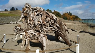 The sculpture is about 10 ft high and 20 ft long including tusks