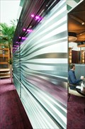 Image for Indoor water wall, Brasserie Roux, Sofitel Hotel, Terminal 5, Heathrow Airport, London UK