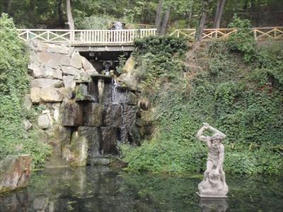 Artificial waterfall in Kinský Garden