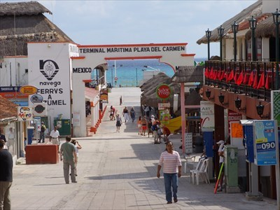 Going down to catch the ferry to Cozumel.