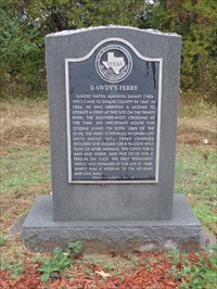 Texas Historical Marker honoring Dawdy and his ferry.