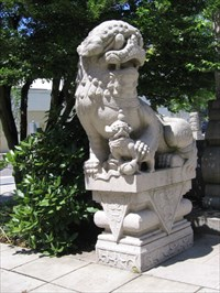 Two chinese lions at portland classical chinese garden for Garden statues portland oregon
