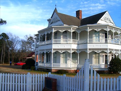 This is a photo of the John Blue house in Laurinburg, NC. It is part of a historical exhibit that includes the house, a museum and other exhibits that highlight our county.