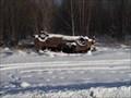 Image for 1980's Burned out, upside down Caravan - Assineau, Alberta