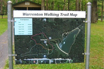 showing walking trails and the lake