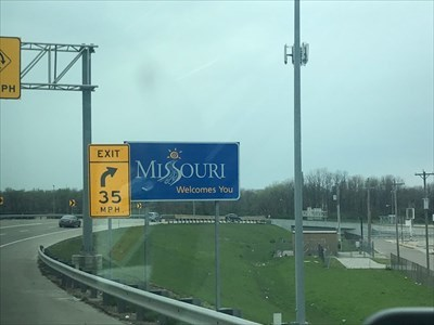 Missouri Welcomes You Sign on I-70, St. Louis, Missouri