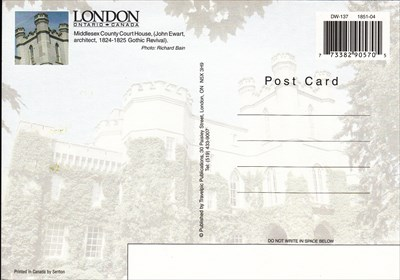 The back half of the postcard showing the courthouse.