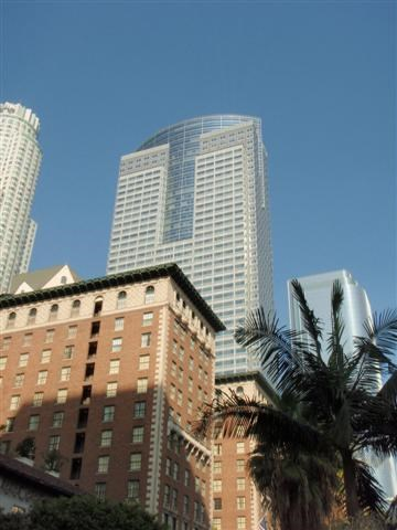 Gas Company Tower (Center), US Bank (left) and Biltmore Hotel  (foreground left), California Plaza (mid right)