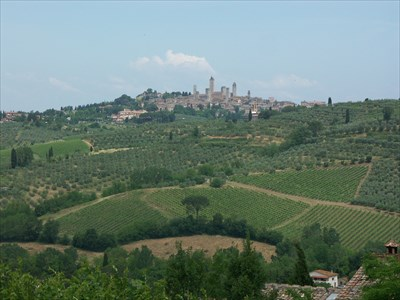 San Gimignano from some kilometers away, during the hike.