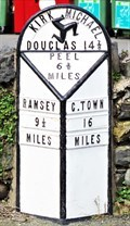 Image for White cast-iron Milestone - Main Road (A3) - Kirk Michael, Isle of Man.
