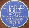 Image for Charles Rolls Blue Plaque - Conduit Street, London, UK