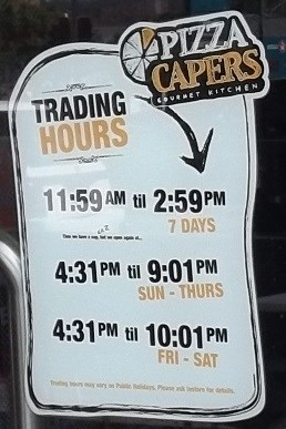 "The ""Trading Hours"" - minutes.