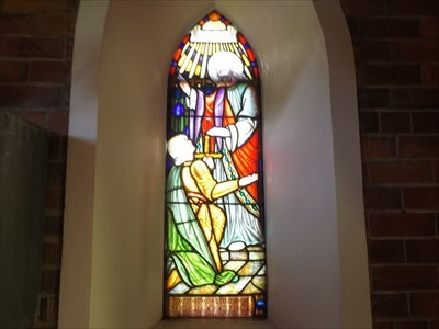 The Stained Glass Window, commemorating Lance Corporal C.W.D. Wheeldon, Killed In Action in 1918.