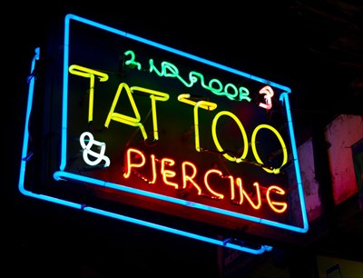 We recently hired out our 'Tattoo' neon sign for use in a viral and poster