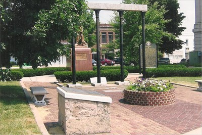 fountain, marker, columns, bricks from various depots in patio...