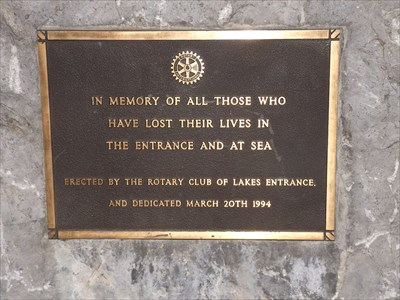 Close-up of the Memorial Plaque, placed by the Lakes Entrance Rotary Club - dedicated 20 March, 1994 Photographed: 2100, Tuesday, 10 May, 2016