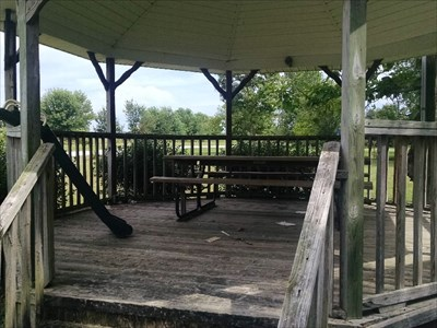 Gazebo at Wentworth Town Park, by MountainWoods.  A picnic table and a - what? - a plastic slide!