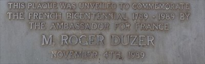Cropped section of the Commemorative plaque, beside Lake Alexandra.1843, Saturday, 20 January, 2018