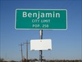 Image for Benjamin, TX - Population 258