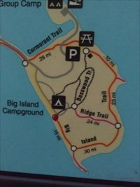 You Are Here at the Big Island Trail - Myre Big Island State Park, by MountainWoods.  The legend explains that the red circle is You Are Here.