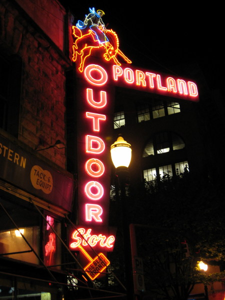 Portland outdoor store neon sign portland oregon artistic neon the big neon sign at the portland outdoor store 304 sw third avenue welcomes you to an old general store atmosphere inside you will find everything that mozeypictures Gallery