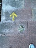 Image for Way of St. James pointing shell in Oviedo, Principality of Asturias, Spain