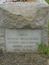 A DRT (Daughters of the Republic of Texas) marker. It is #13 on the San Jacinto Battlefield map.