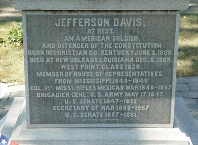 Inscription on the Jefferson Davis Monument in Hollywood Cemetery