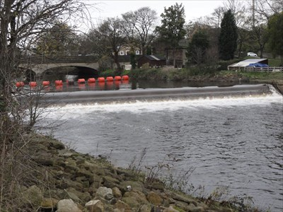 The fish pass can just be seen on the left of the picture.The bywash facility for fish migrating downstream can be seen on the right hand side.