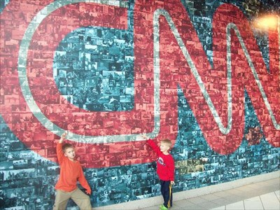 This is my two sons in the atrium of the CNN building.