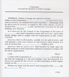 A Resolution. To accept the donation of Andrew Carnegie.