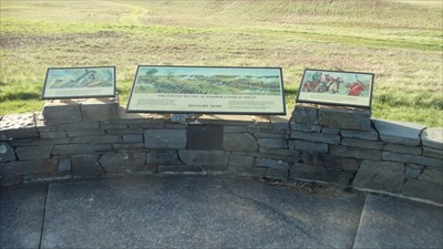 These signs are located at stop three of the waymarking tour, and describe this area of the battlefield.