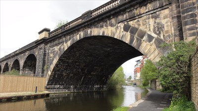 To the left can be seen the remains of the viaduct leading to the viaduct that carries the still working railway line to Leeds City station.