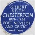 Image for Gilbert Keith Chesterton - Warwick Gardens, London, UK