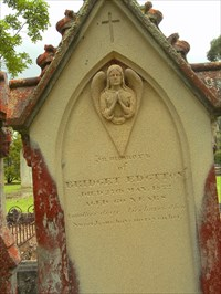 In memory of Bridget Edgtton Died 27th May, 1872 Aged 60 years. Another dear, lies buried here Sweet Jesus have mercy on her.