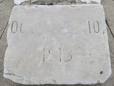 Very Worn Dedication Stone at Base of Gnonome, San Francisco, CA